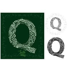 leaves alphabet letter q vector image vector image