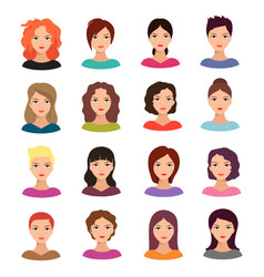 woman with different hairstyle beautiful young vector image