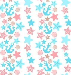 anchor seashell and starfish seamless pattern vector image vector image