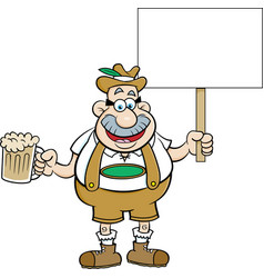 cartoon man holding a beer and a sign vector image