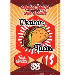 Color vintage mexican food poster vector image vector image