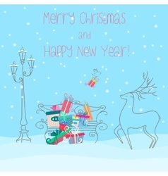 Deer near bench full of presents gifts Happy new vector image vector image