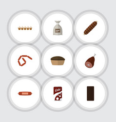 Flat icon eating set of fizzy drink tart smoked vector
