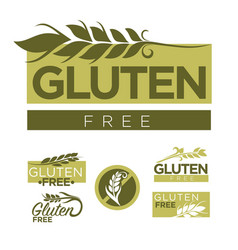 gluten free production emblems set with wheat vector image
