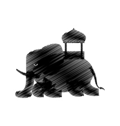 hand drawing elephant sketch design vector image vector image