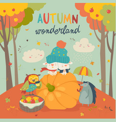 hello autumn background with cute animals vector image vector image