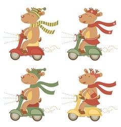 Scootering deers set vector image vector image