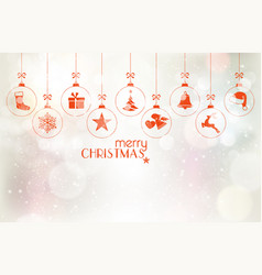 set of hanging christmas baubles over silver vector image vector image