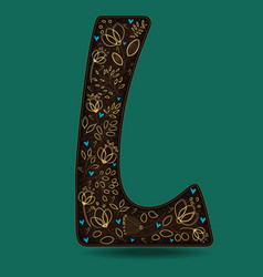 letter l with golden floral decor vector image