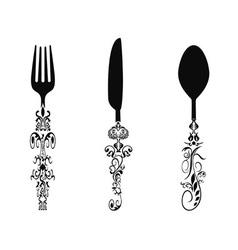 Ornament cutlery set vector