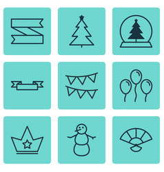 set of 9 happy new year icons includes placard vector image