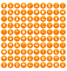 100 snow icons set orange vector