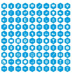 100 sport equipment icons set blue vector