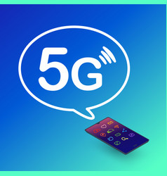 5g technology smartphone with 5g symbol vector image