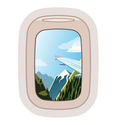 Aairplane window traveling plane and vector