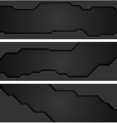 Abstract black concept tech web headers vector