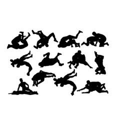 Activities silhouette sports wrestling vector