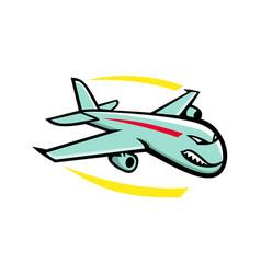 angry jumbo jet plane mascot vector image
