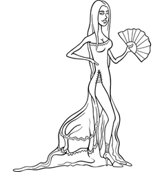 beautiful latino woman in dress cartoon vector image
