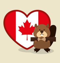 Beaver canadian animal scene vector