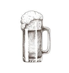 Beer glass brewery sketch vector