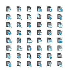 big set document file blue and black icons vector image