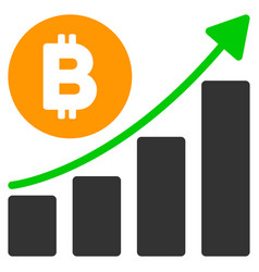 bitcoin growing trend flat icon vector image