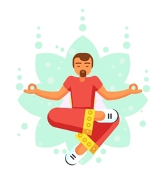 Blue Yoga pose man skill flat cartoon vector