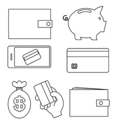 Business - Simple Outline Money Icons Isolated on vector image