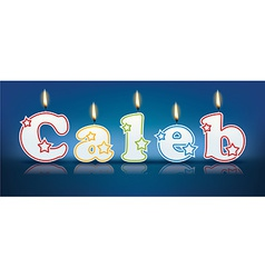 CALEB written with burning candles vector
