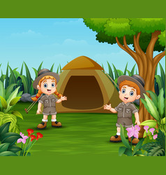 cartoon kids and a tent for camping out in the bea vector image