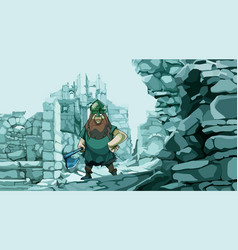 cartoon viking with an ax in the stone ruins of a vector image