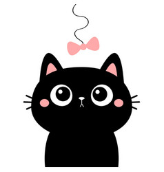 Cat head face looking at bow hanging on thread vector