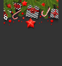 christmas background with fir branches and gifts vector image