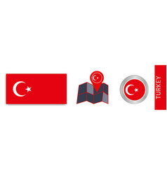 Collection turkish national flags isolated vector