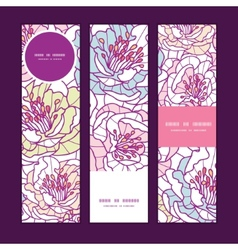 Colorful line art flowers vertical banners vector