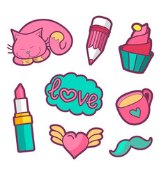 colorful quirky patches set pin trendy vector image