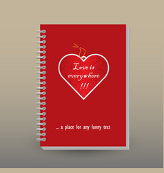 Cover of diary valentine paper heart tag vector