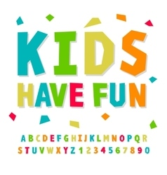 Creative kids funny alphabet and numbers vector image