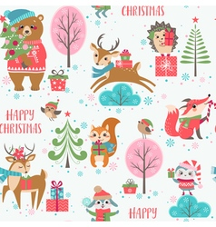 Cute christmas animals pattern vector