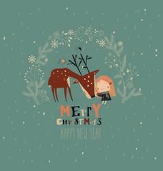 cute girl hugging deer in christmas wreath vector image