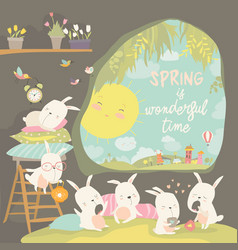 Cute rabbits awaking in hole hello spring vector