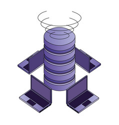 data center disks with laptops computers isometric vector image