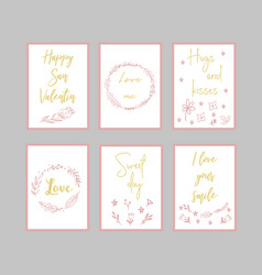 decorative greeting cards for valentine s day vector image