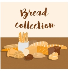 Different kinds of bread set for menu vector