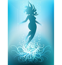 Diving girl against light seabed background vector