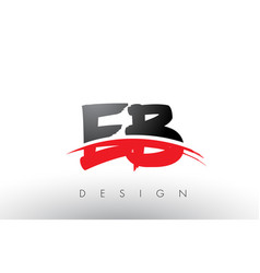 eb e b brush logo letters with red and black vector image