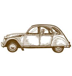 engraving drawing vintage car vector image