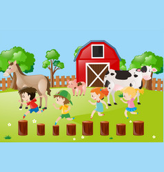farm scene with kids running in the field vector image vector image
