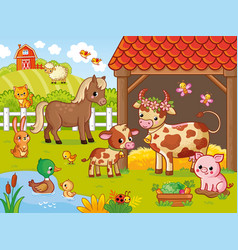 Farm with animals in cartoon style vector